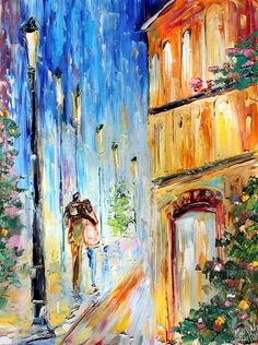 Night Romance painting original oil on canvas palette knife