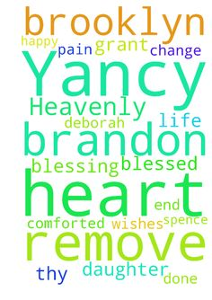 Dear Heavenly Father, Please remove Brandon Yancy from - Dear Heavenly Father, Please remove Brandon Yancy from my life. Please change his heart, let Deborah Spence be a blessing to my daughter and myself. Please end the pain for Brooklyn and myself. Let us be blessed, happy and comforted. Thy will be done. Grant Brooklyn the wishes of her heart.  Posted at: https://prayerrequest.com/t/uv3 #pray #prayer #request #prayerrequest