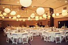 wedding receptions in a church gym... With some fabric on top and lights and lanterns underneath this looks beauifil