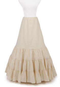 Jessie Victorian Ruffled Skirt or Petticoat in Black Cotton w/Drawstring Waist - boot length