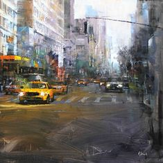 Taxi Light by Mark Lague Oil ~ 24 x 24 Urban Landscape, Landscape Art, Landscape Paintings, Landscapes, Urban Life, Urban Art, Christophe Jacrot, City Sketch, City Painting