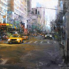 NYC. Urban scene by Mark Lague (oil on panel)