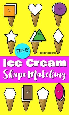FREE Ice Cream themed shape matching activity for toddlers and preschoolers. Great file folder game or cut & paste activity for Summer learning!