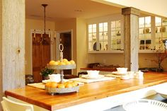 My Houzz: Charming Mountain Chic home on the foothills of Lookout Mountain - traditional - kitchen - birmingham - Corynne Pless Decor, Kitchen Island Bench, Rustic Kitchen, Chic Home, Wood Columns, Traditional Kitchen, Houzz Rustic, Kitchen, Traditional Dining Rooms