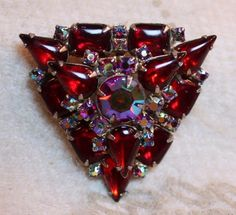 Vintage Weiss AB Aurora Borealis Crystal Tiered Triangle Brooch Pin