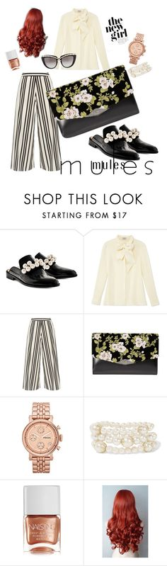 """""""Slide em on: MULES  #Mules #Moderndaymermaid"""" by radjeifrimpong ❤ liked on Polyvore featuring Pokemaoke, Frame, Alice + Olivia, Rochas, FOSSIL, Kenneth Jay Lane, Nails Inc., Anna-Karin Karlsson and modern"""