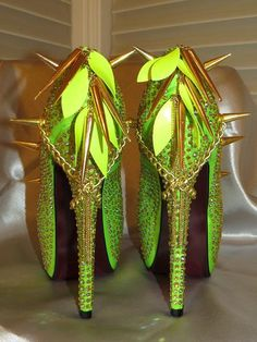 High Heel Platform Spiked Women Shoes Neon Lime size by Spikesbyg, $110.00