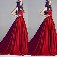 Chic Bridesmaid Red Wedding Party Evening Formal Long Maxi Dress for Women D26