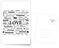 """Love is White & Black"" Postcard by George Barakoukakis. Dims: 100mmx150mm. 300gsm card with a satin finish. Superior writing surface for your words of wisdom. Discount of 20% on every order of 8+ cards"
