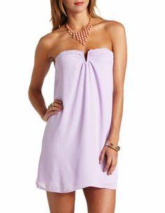 notched strapless chiffon shift dress