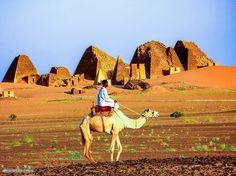 Meroe pyramids, Northern Sudan       أهرامات مروي، شمال  #السودان    (By Krystallia Koukouraki)   #sudan #meroe #pyramids #desert #antiquities #camel