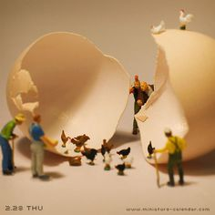 Chicken egg  http://miniature-calendar.com/130228/