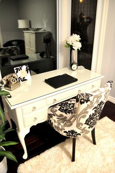 Desk transformation. I hope I can accomplish this look with my old beat up French Provincial desk for the new place.