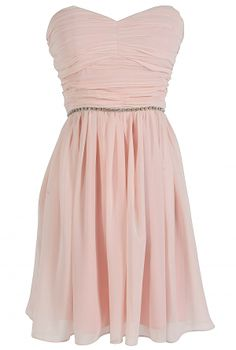 Time To Shine Rhinestone Embellished Chiffon Dress by Minuet in Pink