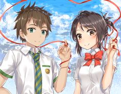Taki and Mitsuha Kimi No Na Wa, New Movies, Good Movies, Mitsuha And Taki, Manga, Garden Of Words, Your Name Anime, Kawaii, Fantasy Artwork