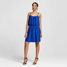 Women's Pleated Short Dress - Merona Uniform Blue Xxl