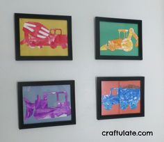 18 Kid Made wall Art Ideas I especially like the construction vehicle wall art!  My little guy would love it!  I'm putting it on his list for school this year.