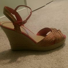 00507337e8 Pink & Gold Shoes SAKS Fifth Ave Pink & Gold Wedge Heal Espadrille Shoes  Like New