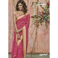 Garvi - 4043 Saree will come along with approx m unstitched blouse piece Fancy Sarees, Party Wear Sarees, Lehenga Saree, Sari, Yellow Fashion, Pink Saree, For Your Party, Pink Color, Colour