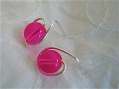 Post Earrings in Fuschia Druk Beads and Silver Dainty by JoJosgems, $10.00
