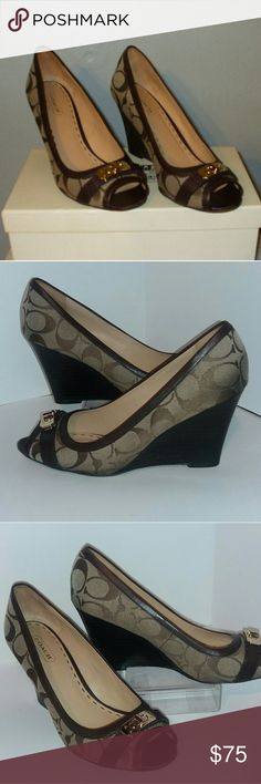 Coach Signature Peep Toe Wedges Like New, Absolutely no signs of wear Coach Shoes Wedges