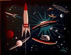 El Gato Gomez Painting Retro Atomic Outer Space SHIP Rocket Robot Martian 1950s   eBay