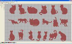 クロスステッチ 猫(ネコ)のシルエット図案♪ : Eー刺繍工房