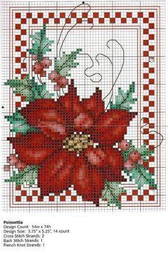 Flor do Natal em Gráficos de Ponto Cruz