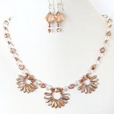 Shirisha: Rose Gold Flower Necklace Set