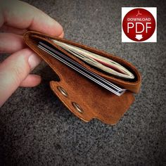 PDF Leathercraft Pattern for a single piece leather minimalist wallet, - To be printed ideally on Legal Paper, - Print at Actual size, - This is a Digital Downloadable File.