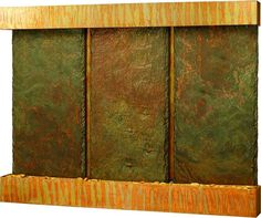 Nojoqui Falls Triple Slate Wall Fountain with Patina Copper Frame, Stohans Showcase