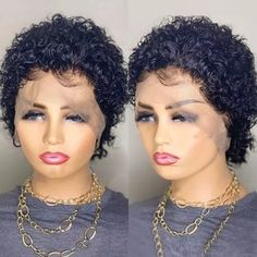 Short Pixie Wigs, Short Lace Front Wigs, Pixie Cut Wig, Twist Braid Hairstyles, Wig Hairstyles, Long Curly Hair, Curly Hair Styles, Curly Short, Hair Color For Black Hair