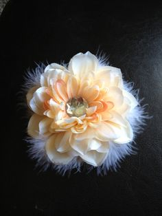 hair flower peach with feathers by Yuliyasboutique on Etsy