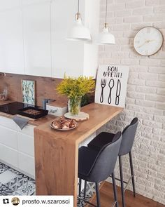 The 26 Greatest Small Kitchen Design Ideas for Your Tiny Spa.- The 26 Greatest Small Kitchen Design Ideas for Your Tiny Space Source by xoLouisa - Studio Kitchen, New Kitchen, Studio Apartment Kitchen, Brick Wall In Kitchen, Funny Kitchen, Kitchen Nook, Awesome Kitchen, Beautiful Kitchen, Kitchen Storage