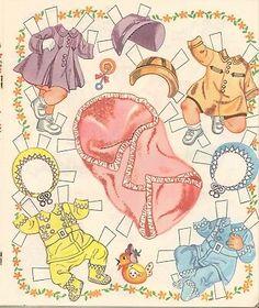 Paper Dolls Book, Vintage Paper Dolls, Paper Toys, Paper Dolls Printable, Vintage Baby Clothes, Christmas Paper Crafts, Voodoo Dolls, Doll Stands, Miniature Dolls