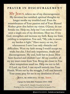 Prayer in Discouragement by St. Henry Newmann. Catholic Saints. Christian prayers