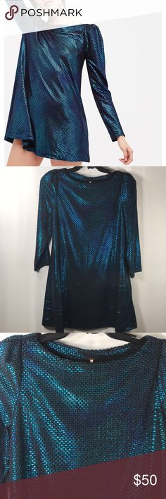 "Free People Diamonds Are Forever Dress Brand new with tags  Free People OB667962 Blue Combo Iridescent  Size XS 2 side pockets  Gathered shoulders Shoulder to Hem 32"" Pit to Pit 18"" Sleeves 21"" Free People Dresses"
