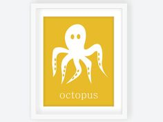 Octopus Modern Nursery Art Print in Sunflower by twowhiteowls, $15.00