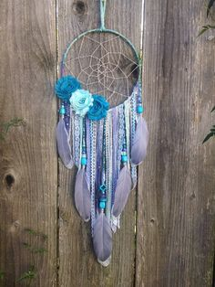 Fleur Dreamcatcher bleu et gris Dream Catcher par InspiredSoulShop