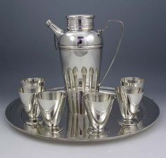 Tiffany Sterling Silver Cocktail Set on Tray