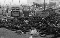 18 Charred remains of Japanese civilians after the March 10, 1945 firebombing of Tokyo. That night, some 300 U.S. B-29 bombers dropped 1,700 tons of incendiary bombs on the largest city in Japan, resulting in the deaths of an estimated 100,000 people -- the single deadliest air raid of World War II. (Koyo Ishikawa) #