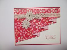 """From the Heart by bmbfield - Cards and Paper Crafts at Splitcoaststampers - like the """"pleated fold"""", like this DSP Sending Love Fun Fold Cards, Folded Cards, Cool Cards, Scrapbook Paper Crafts, Scrapbook Cards, Card Making Inspiration, Making Ideas, Shaped Cards, Handmade Birthday Cards"""