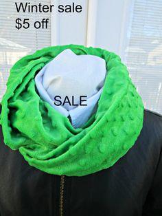 Warm winter scarf Green Minky infinity by PrairieFlowerCreate