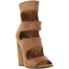 Steve Madden Tawnie Cut Out Sandals , Camel ($125) ❤ liked on Polyvore featuring shoes, sandals, camel, steve madden sandals, block-heel sandals, steve madden shoes, high heel sandals and suede shoes