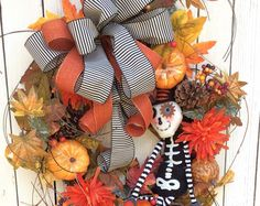 Halloween Door Wreath,Halloween Wreath, Halloween RAZ Wreath, Halloween Decoration, Halloween Wreath for door, Trick or Treat Wreath, Fall Wreath, Fun Halloween Wreath, Glitzy Halloween Wreath, Whimsical Halloween Wreath   More Halloween Door Wreaths https://www.etsy.com/shop/Keleas?ref=hdr_shop_menu§ion_id=13673742  Fun Halloween Glitter Wreath is just ready to welcome the Trick -or- Tr-eaters! This Fun Halloween wreath is surrounded with great grass and berries...