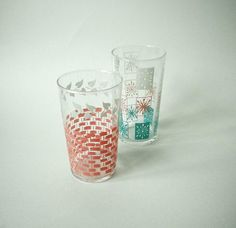 Mid Century Aqua PInk and White and Pink and by BeppieandEido