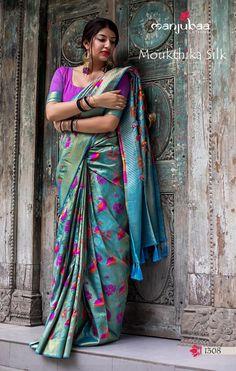 Kanjivaram Silk Saree With Blouse Piece Indian Women Sari Traditional 7379 Blue Silk Saree, Art Silk Sarees, Silk Sarees Online, Trendy Collection, Saree Collection, Indian Beauty Saree, Indian Sarees, Kanjivaram Sarees, Brocade Lehenga
