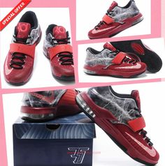 "Red Gray Nike KD VII ""Thunder"" KDVII-023 Outlet"