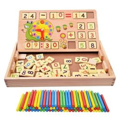 Educational Wooden Toy Montessori Colorful Multifunctional Digital Math Box