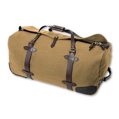 Filson's Wheeled Duffle. I could do without the wheels, but the design is beautiful, and Filson's products are SO well made. This investment would last forever!